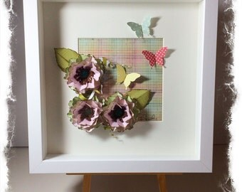 SALE! Shadow box frame with flowers