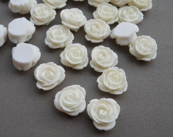 100pcs White tRose Flowers Cabochons Cameo Base Setting Resin Rose Flower 13mm