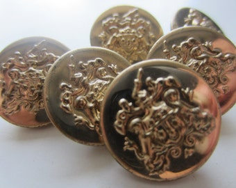 vintage buttons. 6 matching antique gold metal Crested royal design. (681)