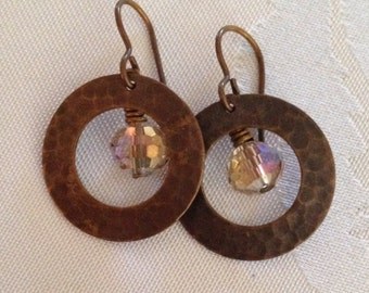 Earrings with Vintaj Natural Brass - Lightweight and Handmade