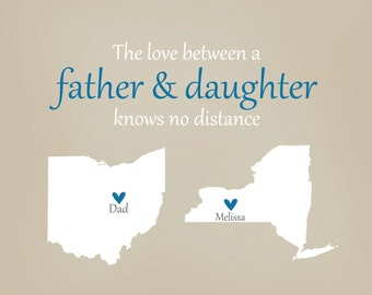 Dad Gift - Father's Day Gift, Print Long Distance Personalized Father's Day Map, from Daughter, Family, Mom, Dad, Daughter, Best Friend, Art