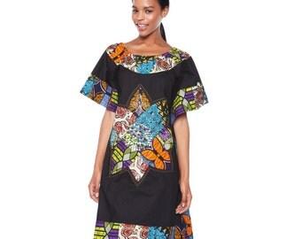 Kaftan Dress, Black Dress, Ankara Patchwork, African print dress, Black Tunic with ankara patchwork detailing, African print patchwork