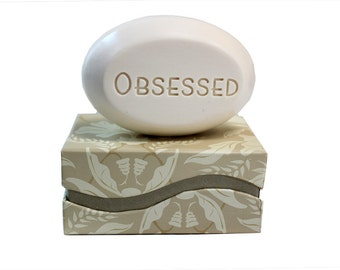Soap Sentiments - Personalized Scented Soap Bar Engraved with Obsessed