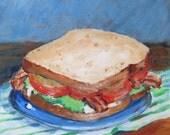 BLT sandwich painting original, 9x9, Shirley Lowe, bacon lettuce and tomato sandwich, kitchen art, restaurant art, comfort food, dining art