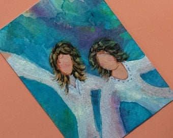 ACEO original painting FREE SHIPPING Angels Series1 Earning Pastel Wings Limited Edition 2 of 6 Christian Art cast best friends gift