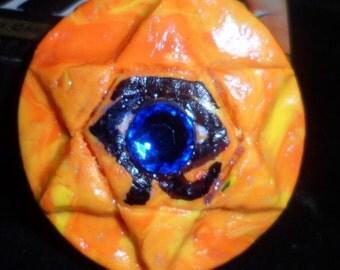 Eye of Horus Pendant  -  Eye of Ra, Eye of God -  Golden Desert Hexagram, polymer clay pendant