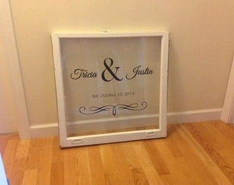 Custom names and wedding date for windows, mirrors or walls. Decal only window not included.