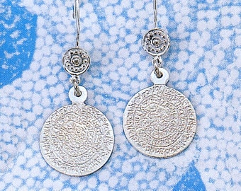 925o silver Greek Phaistos Disk earrings - free shipping!