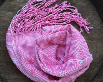 Pink vintage  Woven Cotton Scarf Hand Dyed / Boho Style Eco Friendly