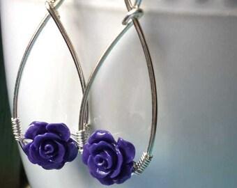 Wire Wrapped Purple Flower Earrings