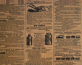Newsprint - Newspaper Ad Tissue Paper .... Primitive...Men / Man ....10 large sheets