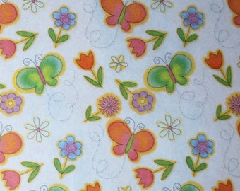 Butterfly & Flower Tissue Paper ... 10 large sheets .. beautiful floral, garden, women gift wrap