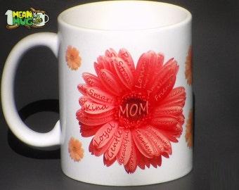 Mother's Day Gerbera Daisies Coffee Mug- Light Orange Gerbera Daisy w/small Yellow Gerbera Daisies Mothers Day Gift- 11 oz  Mug Gift for Mom