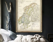"Map of Scandinavia 1820 Vintage Scandinavia map up to 36x51"" (90x130 cm) Old map of Norway, Sweden & Finland. Archival Limited Edition"