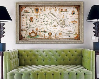 "Map of Mediterranean 1674, Baroque map of Mediterranean sea in 4 sizes up to 52x30"" (130x75 cm) Nautical chart - Limited Edition of 100"