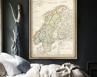 """Map of Scandinavia 1820, Vintage Scandinavia map, 4 sizes up to 36x48"""" (90x120 cm) Norway, Sweden, Finland - Limited Edition of 100"""