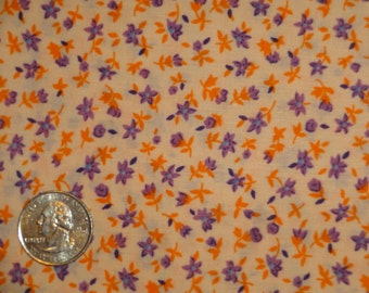 Floral Calico Peach Orange Purple Flowers Fabric 1 3/4 yard only