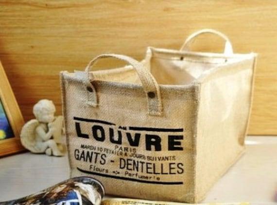 Linen Storage Basket, Recycle Laundry Basket, French Basket, Louvre Paris Basket