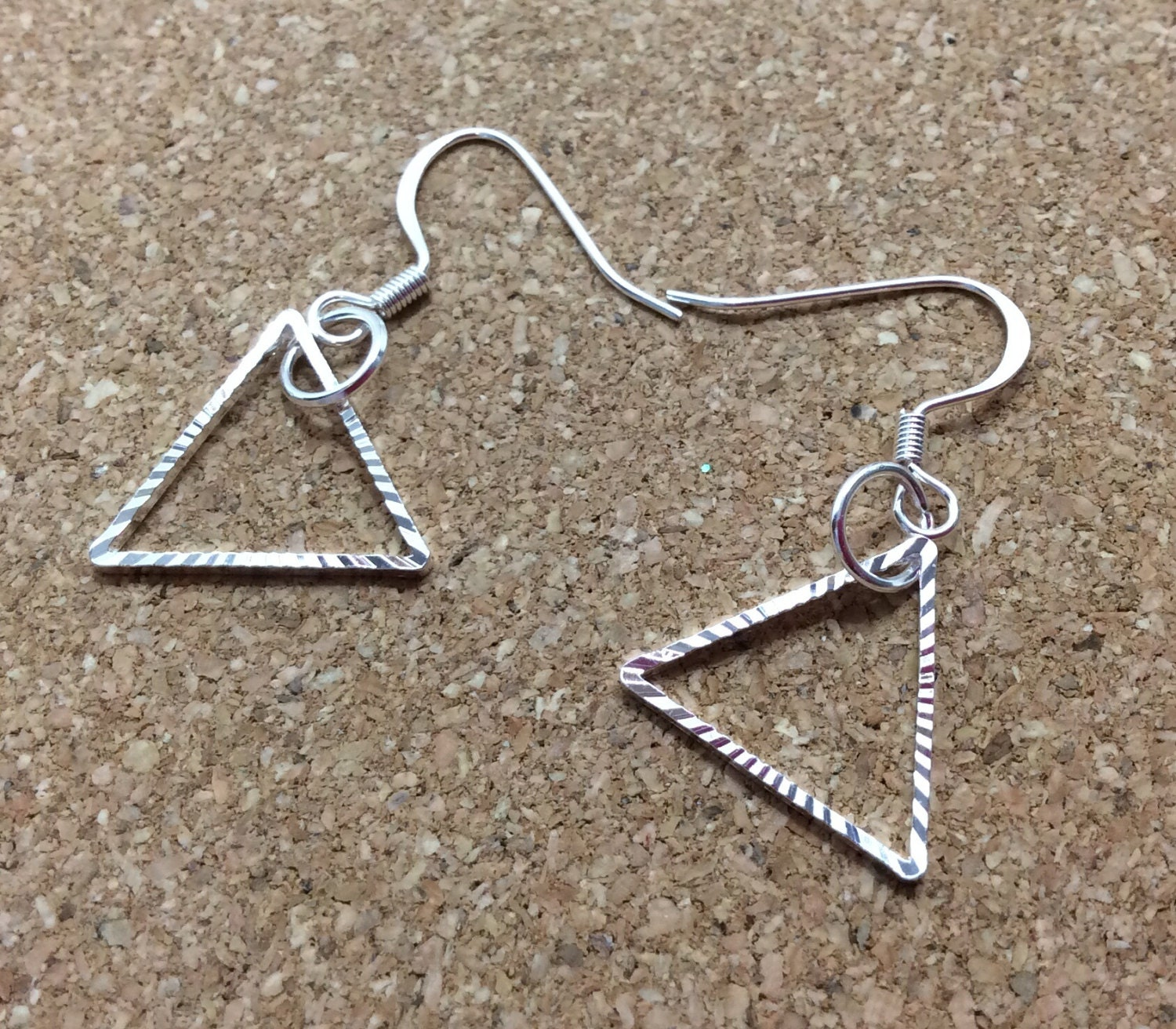 sale silver triangle dangle earrings triangle by outerwonders. Black Bedroom Furniture Sets. Home Design Ideas