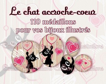 Digital Printable Collage Sheet - Chat accroche coeur