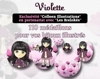Digital Printable Collage Sheet - Violette