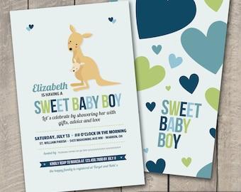 Kangaroo Baby Shower Invitation
