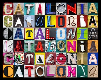 Personalized Poster featuring CATALONIA showcased in photos of sign letters; Typography print; Wall decor; Custom wall art; Name poster