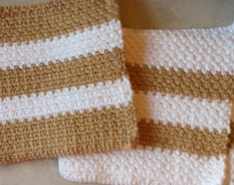 These match everything.  2 Lovely Brown and White Handmade Dish Rags. Free Shipping