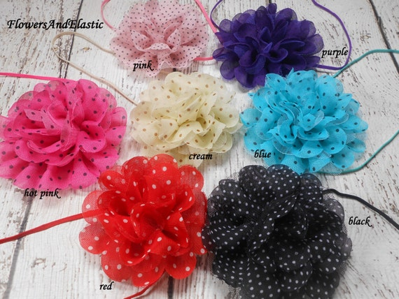 Polka dot Frayed Lace,Chiffon flower Baby Headband, Newborn Headband,  Infant Headband, Headband Baby, Baby Headband