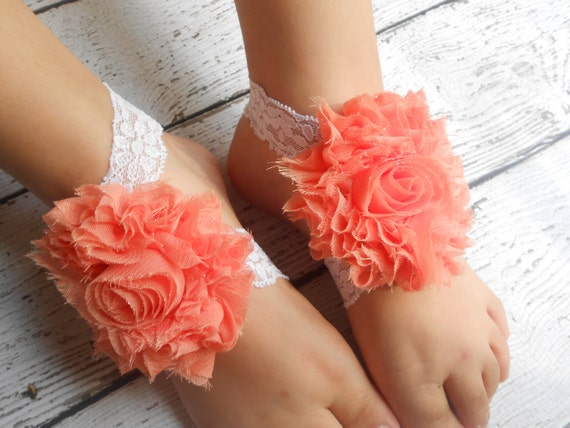Coral Flower  Baby Barefoot Sandals ,Shabby Flowers with Elastic , Toddler Sandals ,Newborn Sandals ,Baby Flower Sandals