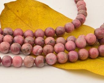 15.5Inch Rhodonite Beads - 8mm -Round