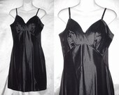 Vintage Full Slip Black 60s Mini Van Raalte Glossy Wet Look Black Shimmery Supreme Quality Slip Dress Slippery Soft Short Size 36 M/Medium