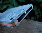 Micarta Front Pocket Card (Minimalist) Wallet in Gray Canvas with Orange and Burgundy Spacers