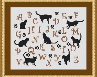 CAT ALPHABET/ chats - Counted cross stitch pattern /grille point de croix,Cross Stitch PDF, Instant download , free shipping
