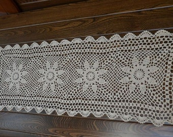 Rectangular table runner, hand crochet table runner, table runner for home decor, handmade table runner, beige