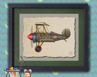 Kid Airplane Whimsical vintage biplane art Whimsical plane print adds to kids room aviation theme as 8x10 or 13x19 flying wall décor