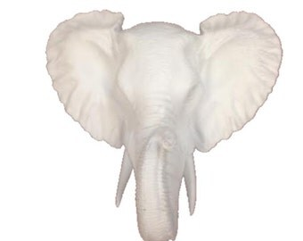 White Mini Elephant Head Mount Wall Statue. Faux Taxidermy Fake Elephant Head. Fake African Elephant Head