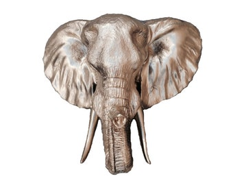 Gold Elephant Head Mount Wall Statue. Faux Taxidermy Fake Elephant Head. Fake African Elephant Head