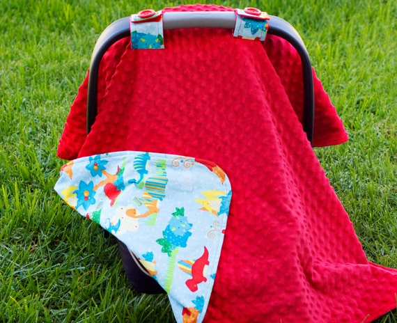 items similar to baby car seat cover for boy dinosaur print fabric red minky with matching. Black Bedroom Furniture Sets. Home Design Ideas
