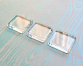 QTY 10 - Clear glass square tiles - 25 mm - 1 inch - Pendant and magnet supply