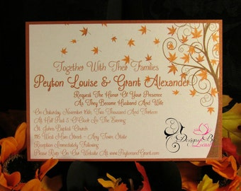 Fall Themed Wedding Invitation