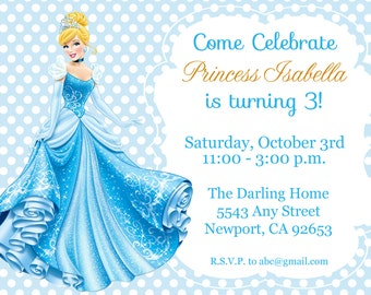 Cinderella Invitation, Disney Princess, Kid's Birthday Party Invite, Birthday Invitation