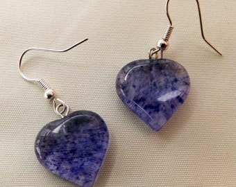 Gorgeous Puff Heart Gemstone Dangle / Drop Earrings