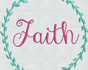 Embroidery Machine Pes Designs Laurel Wreath Faith  2 Sizes PES Format