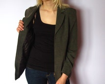 Green Womens Jacket Vintage Classy Style Jacket With Zipper Business Outfit Long Sleeve Jacket