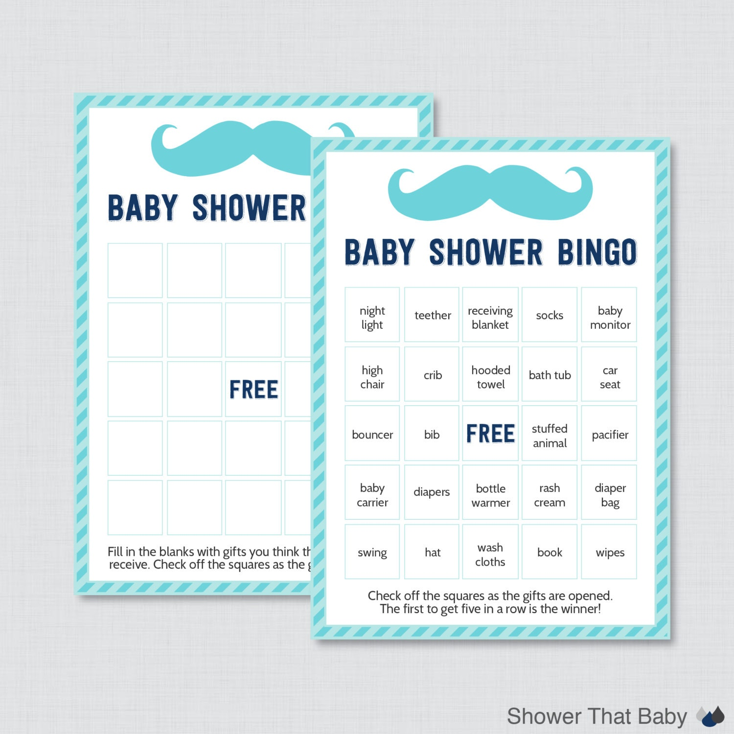mustache baby shower bingo cards printable by showerthatbaby