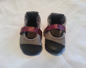 Leather Baby Booties - Gray/Red/Black - Sz 2