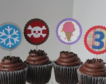 Custom Birthday Party Cupcake Toppers