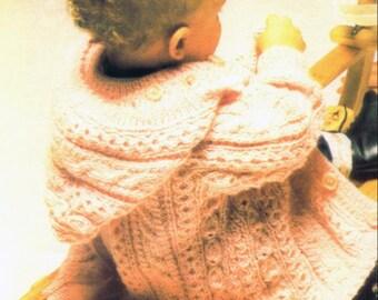 Knitting Pattern - Aran Baby Coat Jacket DK 20 in PDF