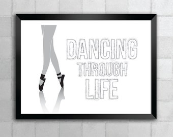 Wicked – Dancing Through Life – Song Lyric Quote 8x10 11x14 Typography Wall Art Print